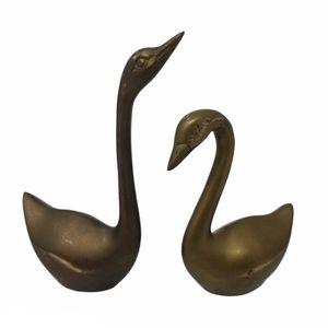 Solid Brass Swans Love Birds Figurine Pair Set